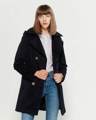 MICHAEL Michael Kors Double-Breasted Hooded Wool-Blend Jacket
