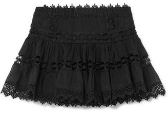 Charo Ruiz - Greta Crocheted Lace-paneled Cotton-blend Mini Skirt - Black