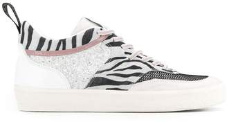 Leather Crown zebra print low top sneakers