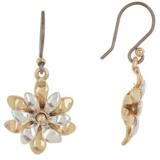 Lucky Brand Mini Layered Flower Drop Earrings