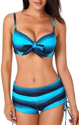 8b060ddbc6 WoldGirls Women's Push Up Bikini Set Boardshort Print Two Pieces Bathing  Suits
