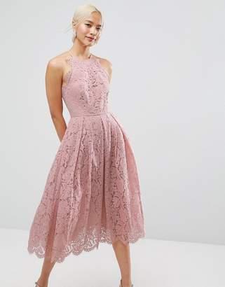 Asos DESIGN Lace Pinny Scallop Edge Prom Midi Dress