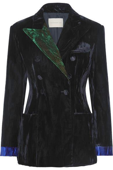 Color-block Crushed-velvet Blazer - Black