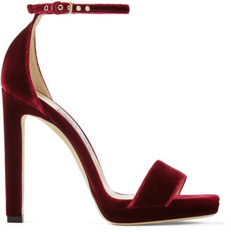 Jimmy Choo MISTY 120 Bordeaux Velvet Platform Sandals