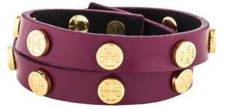 Tory Burch Studded Logo Double Wrap Bracelet