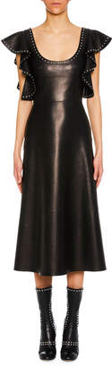Alexander McQueen Scoop-Neck Ruffle-Shoulder A-Line Lamb Leather Midi Dress