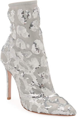 Gianvito Rossi Sequined Mesh Ankle Booties