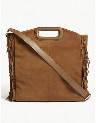 Maje M fringed suede tote