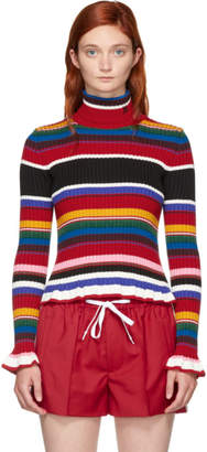 MSGM Multicolor Ruffles Striped Turtleneck