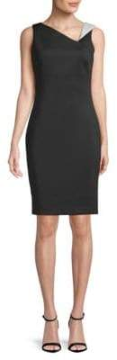Calvin Klein Asymmetric V-Neck Fitted Sheath Dress