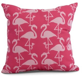 Simply Daisy, 20 x 20 inch, Flamingo Heart Martini Animal Print Pillow, Pink