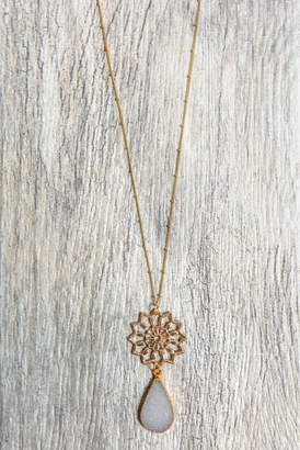 Stitch And Stone Stitch and Stone Filigree Flower Druzy Teardrop Necklace