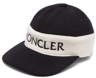 Moncler Fitted Logo Embroidered Cotton Cap - Mens - Black Multi