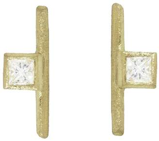 Tate Square Diamond Stick Stud Earrings
