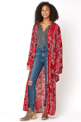 American & Beyond Print Bell Sleeve Kimono