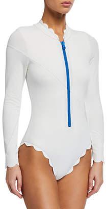 Marysia Swim North Sea Scalloped Rashguard One-Piece Swimsuit