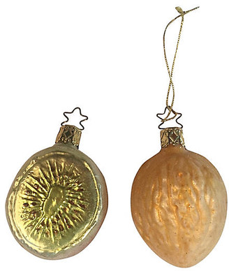 One Kings Lane Vintage Kiwi & Walnut Blown Glass Ornaments