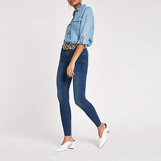 River Island Womens Mid Blue Molly mid rise jeggings