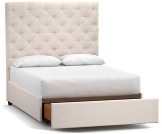 Pottery Barn Lorraine Upholstered Tall Tufted Footboard Storage Bed