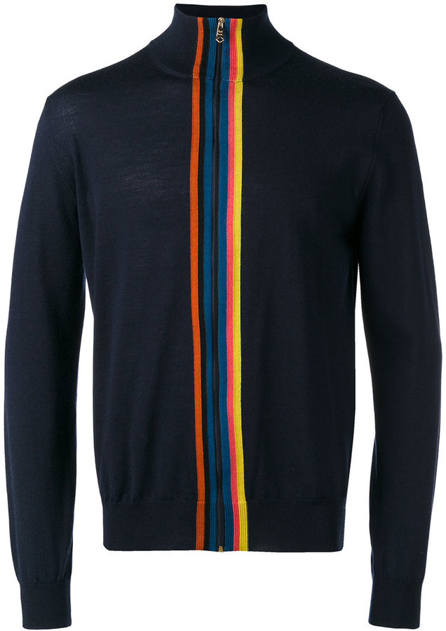 Paul Smith Paul Smith striped panel zip cardigan