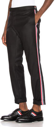 Thom Browne Wool Flannel Elastic Stripe Trouser in Black | FWRD