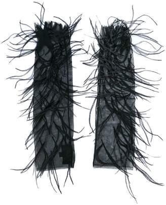 J. Mendel feather embellished mesh evening gloves
