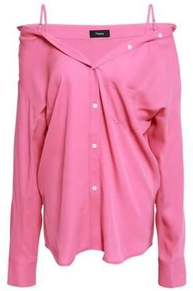 Theory Cold-shoulder Silk Crepe De Chine Shirt