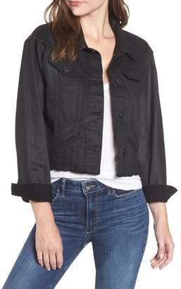 Paige Tori Crop Coated Denim Jacket
