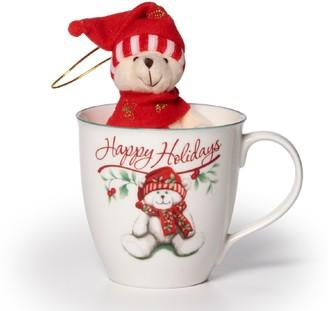 "Pfaltzgraff Winterberry ""Happy Holiday"" Mug & Stuffed Bear Set"