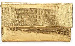 Nancy Gonzalez Simple Crocodile Flap Clutch Bag, Anthracite