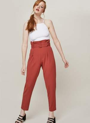 Miss Selfridge Rust belted tapered leg trousers