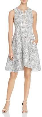 Donna Karan Textured Knit Zip Front Dress