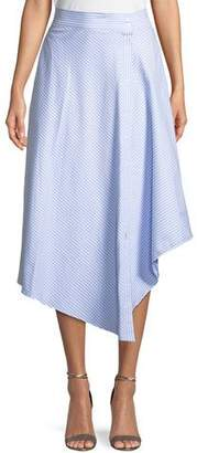 Jonathan Simkhai Wrapped Oxford Handkerchief Midi Skirt