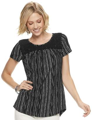7c2192d21aa1d0 Sonoma Goods For Life Petite SONOMA Goods for Life Print Lace-Yoke Top