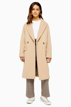 Topshop PETITE Camel Double Breasted Coat