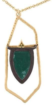 Armenta Diamond, Moonstone & Malachite Shield Pendant Necklace