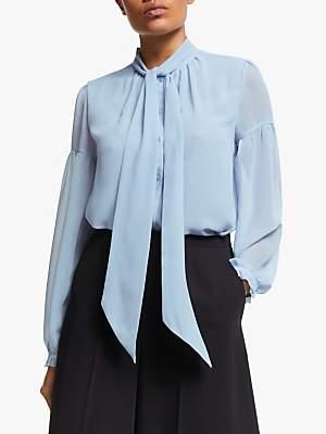 Somerset by Alice Temperley Tie Blouson Sleeve Blouse, Sky Blue