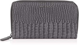 Jimmy Choo CARNABY Slate Crocodile Printed Nubuck Leather Travel Wallet