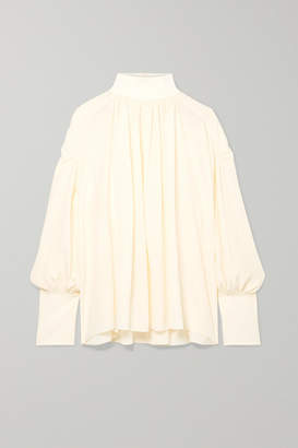 Chloé Ribbed Wool Blend-trimmed Gathered Silk Crepe De Chine Blouse
