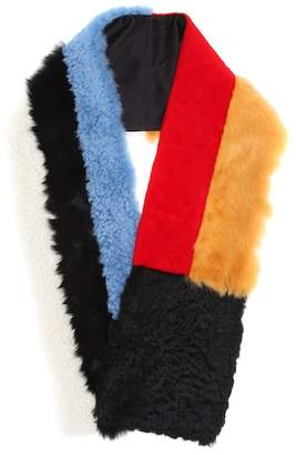 Calvin Klein Color-blocked lamb fur scarf