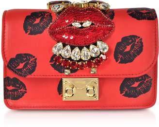 Gedebe Mini Cliky Nappa Printed Red Lips Clutch w/Chain Strap