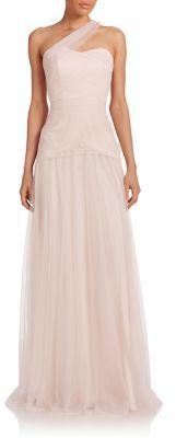 Monique Lhuillier Bridesmaids One-Shoulder Tulle Gown $350 thestylecure.com