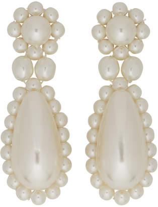 Simone Rocha White Pearl Drop Earrings