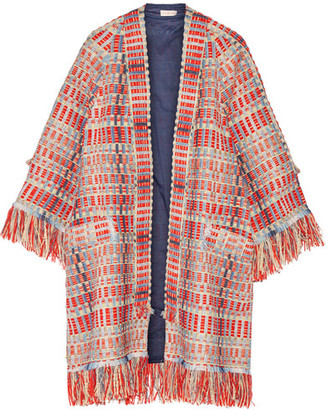 Tory Burch - Erica Fringed Metallic Tweed Jacket - Red $695 thestylecure.com