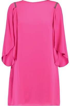 Halston Chain-Embellished Crepe Mini Dress