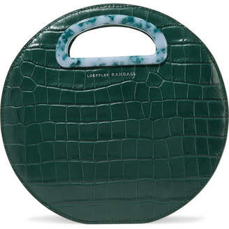 Loeffler Randall Indy Circle Croc-effect Leather Tote - Emerald