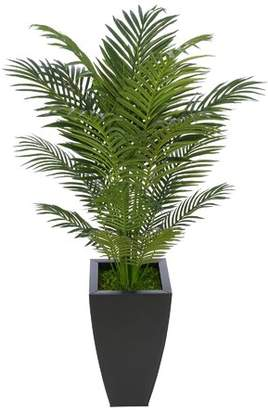 Bay Isle Home Artificial Floor Areca Palm Tree in Black Tapered Square Zinc Base