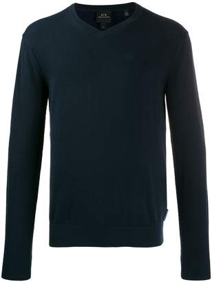 Armani Exchange embroidered logo knit sweater