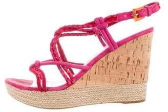Prada Sport Suede Espadrille Wedge Sandals