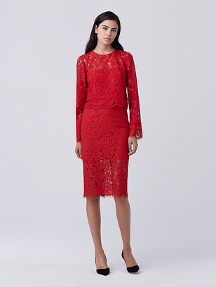 Glimmer Lace Pencil Skirt $328 thestylecure.com